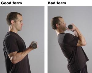Using Bad Form Lifting Weights